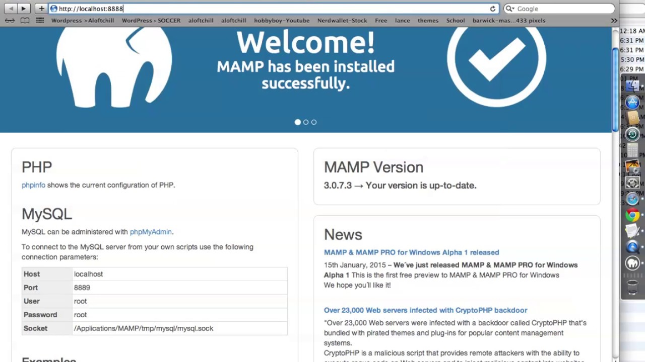 WordPress with MAMP