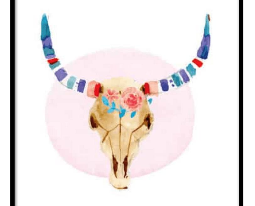 Bull Skull illustration poster