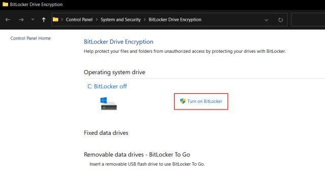 BitLocker' for the drive