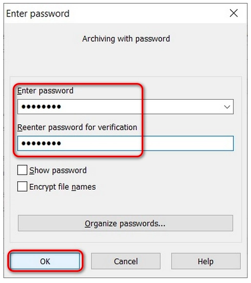 require a password for decompression