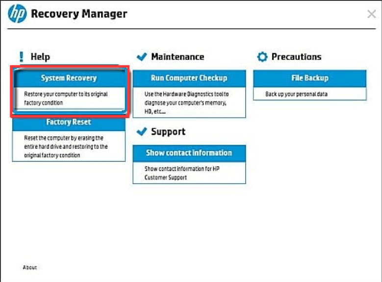Troubleshoot and Recovery Manager